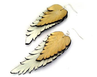 40% OFF SALE Feather earrings. Long dangle leather earrings. Beige and gold color