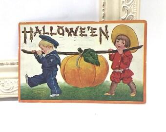 Vintage Halloween Postcard, Vintage Postcard, Children Carrying Pumpkin on a Stick, 1909