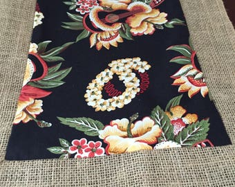 Hoffman International Tropical Hawaiian Ukulele, Hibiscus and Leis Bordered with Burlap Rectangle Table Runner by ThemeRunners