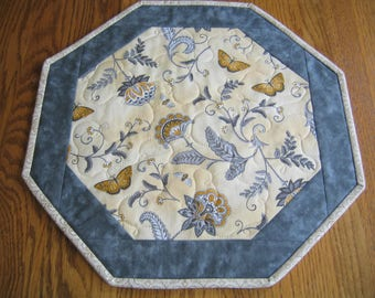 "Quilted Table Topper - Octagon in a Yellow and Gray Floral with Butterflies - 16"" diameter - NEW PATTERN"