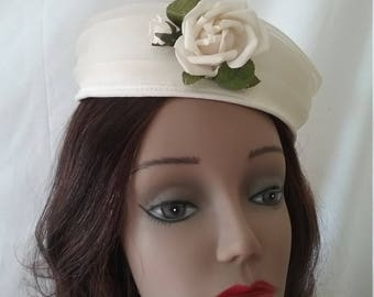 Vintage Off White Pillbox Hat with Rose and Net Accent  A120