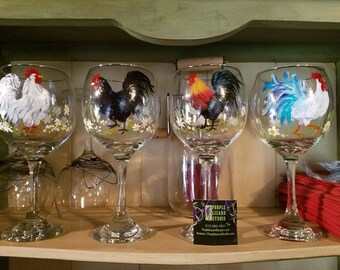 Crazy Roosters - FOUR 15 oz handpainted  red wine glasses - custom