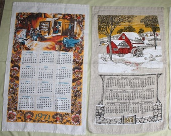 Vintage CalendarTea Towels. 4 plus 1 free One,, From the 1970's