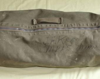 vintage US Army Green Canvas Duffel Bag, 1940's