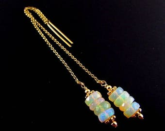 25 OFF Ethiopian Opal Gold Filled Threader Earrings