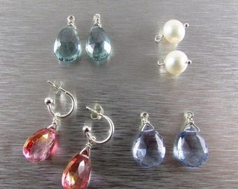 25 OFF Interchangable Earring Wardrobe, Quartz and Pearl Sterling Silver Earring Wardrobe
