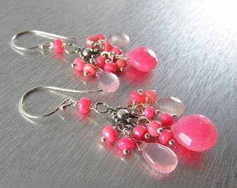 25 OFF Pink Chalcedony With Pink Ethiopian Opal Sterling Silver Earrings