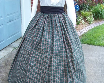 Dickens Christmas Long Skirt and sash one size fit all hunter Green, Burgundy, ivory and black  plaid cotton