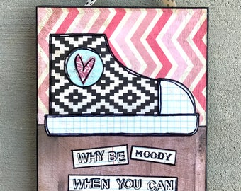 Shake your booty converse sneaker mixed  media collage art by Things With Wings