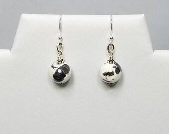 Black & White Spotted Ceramic Earrings