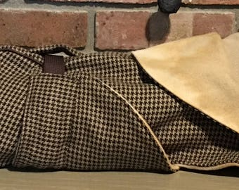 "FREE US SHIPPING. Brown Houndstooth Dog Coat w/ Carmel fleece lining. (00055) Size 15"" Italian Greyhound, Min Pin, Chinese Crested"