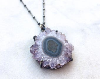 Amethyst stalactite necklace, amethyst geode slice pendant, February birthstone necklace, modern sterling silver necklace, purple stone