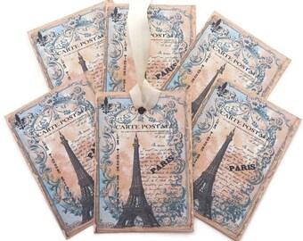 Tags Paris Eiffel Tower-French Vintage Birthday- Carte Postale -Bridal Shower -Paris Decor -Tea Party- Journal Script -Wedding Wish tags