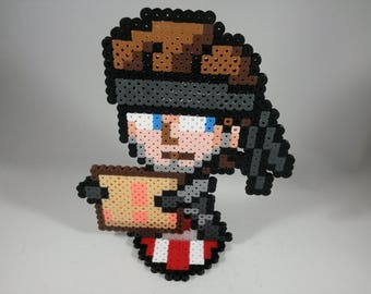 Solid Snake - Metal Gear - Nintendo Super Smash Bros - Perler Bead Sprite Pixel Art Figure Stand or Lanyard Necklace