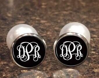 Monogram Earrings, Peekaboo, Silver Stud Earrings, Dangle Earrings, Personalized Studs, Personalized Jewelry, Monogram Studs 449