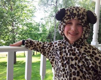 Instock Fleece Leopard/Cheetah Cat Costume