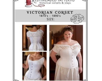 """PDF Corset Pattern, Plus Size 18 34"""" Waist, Printable Victorian Sewing Pattern for Civil War, Bustle Era, Romantic, Instructions Included"""