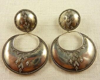 Vintage Handmade Sterling Applied Beadwork Maya Neiman Earrings with 14K Gold Posts