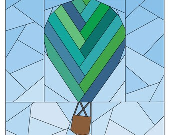 Hot Air Balloon Pattern - Rise Above Add-on: Herringbone  - Paper Piecing Quilt Pattern - #257 PDF