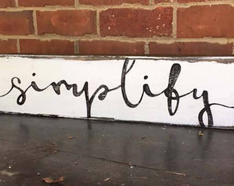 simplify wooden block sign hand painted distressed