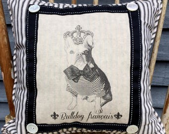 French Bulldog in Crown, French Country Decor, Farmhouse Decor, Print on Pillow,  Shabby Chic Pillow, Frenchie, Waverly Black Ticking