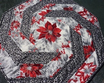 Holly and Poinsettia Swirl Table Topper