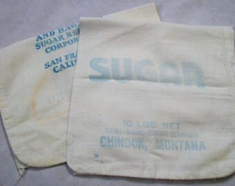 Sugar Sack, Vintage Sugar Sack, Chinook Montana, California and Hawaiian Sugar Refinery, Pure Cane Sugar Bag, Sugar Bag