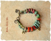 Boho Cowgirl Bracelet, Bohemian Jewelry, Turquoise, Carnelian, Multiple Strands, Southwest, Boho Style Me, Kaye Kraus