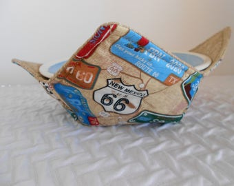 Microwave Bowl Cozy. Route 66 Cozy, Soup Bowl Warmer, Ice Cream Bowl Holder, Hot Cold Bowl Holder, Fabric Bowl Cozie, Reversible Cozy