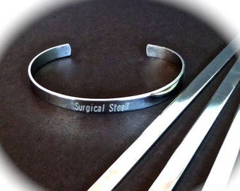 "Scratch and Dent Sale SLIGHTLY SCRATCHED 10 Surgical Steel Polished 1/4"" x 6"" 18 Gauge Bracelet Blank Cuffs Round Corners - 10 Stainless Ste"