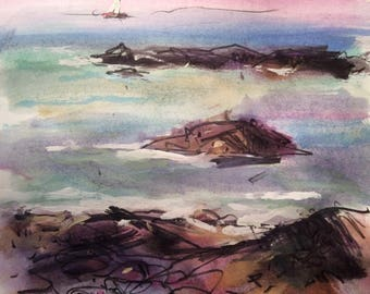 Maine coast watercolor painting near Boothbay Harbor