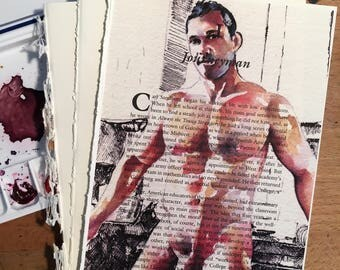 Gorgeous Nude Hunk in the Kitchen on Vintage Book Paper by Artist Brenden Sanborn