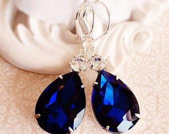 SALE 20% Off Blue Earrings - Navy - Victorian Jewelry - Bridesmaid Jewelry -  MAYFAIR Navy