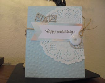 anniversary card, wedding, stampin up, light blue, white, doily, greeting card