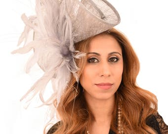 Grey Fascinator Hat for Kentucky Derby,Melbourne Cup, Ascot