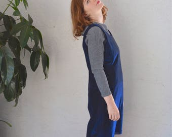 Iridescent Blue Dress S M Vintage 90s Shiny Tank Mini
