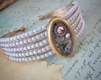 Steampunk Bracelet - Pearls and gears - Steampunk watch parts cuff - bracelet