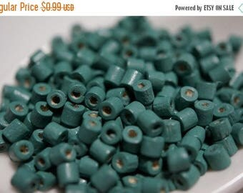 SUMMER CLEARANCE CLOSEOUT Sale - Deep Turquoise Green Wood Tube Beads - 3mm - 300 pcs