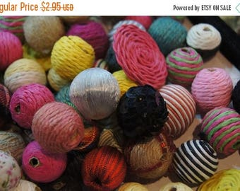 SUMMER CLEARANCE SALE - Handmade Fabric Wrapped Assorted Round Beads with Wood Core - 10 pc