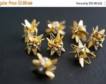 SUMMER SALE 18K Gold Plated Rhinestone Spacers with Prongs for End Beads Clasps - 6mm - 5 pcs