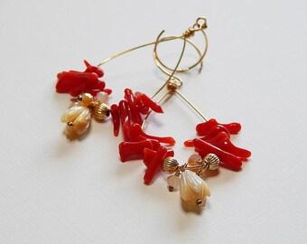 Red Coral, 14kt Gold Filled, Pikake Mother of Pearl, Flower Bud, Hoops, Botanical, Jasmine