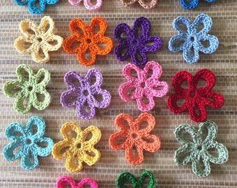 Crochet Handmade Star Flowers, Appliques, Embellishments - set of 18