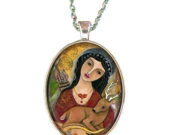 Artemis Goddess - Greek goddess - Statement Necklace - Goddess Jewelry - Spiritual gifts - girlfriend gift necklace - Pagan Jewelry