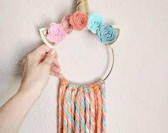 Unicorn Wall Hanging | Felt Flowers | Decor, Nursery, Wreath, Hoop