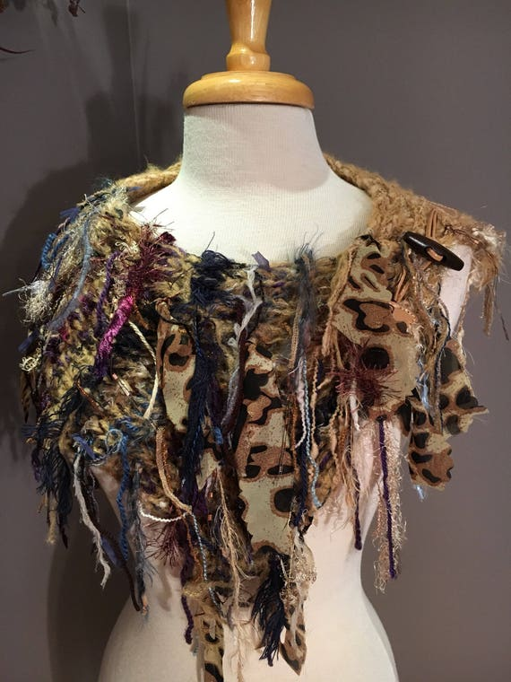 Handknit Shag Wearable Art Cowl with leather button closure, 'Fetish' Series, Knit Collar, cheetah print, Fringe Cowl art yarn knit