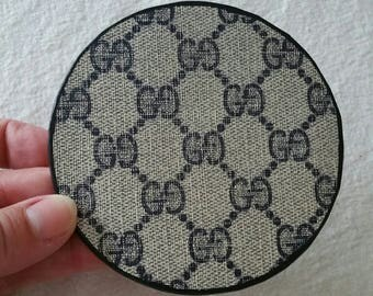 Recycled Gucci round leather coaster - single for the office - OOAK upcycled by Posh Rock Vintage