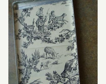 ON SALE Gorgeous Vintage Black and Creme Woven Toile Fabric Sample
