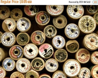 ON SALE One Dozen Old Wooden Thread Spools