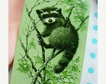 ON SALE Vintage Kitsch Adorable Raccoon Vintage Playing Cards