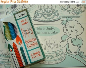 ONSALE Vintage Kitsch New/Old stock Birthday Cake Candles in Original Box still Sealed.